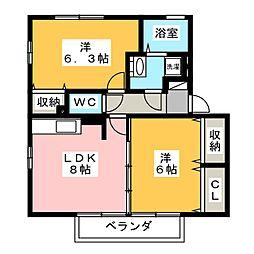 アジュール B[2階]の間取り