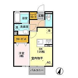 (仮)D-room藤岡[203号室]の間取り