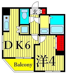 東京メトロ日比谷線 三ノ輪駅 徒歩12分の賃貸マンション 6階1DKの間取り
