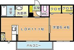 福岡県北九州市若松区宮前町の賃貸アパートの間取り