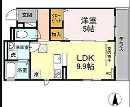 OKUE II 1階1LDKの間取り