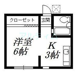 京都府京都市東山区鐘鋳町の賃貸アパートの間取り