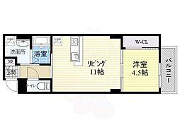 阪神本線 出屋敷駅 徒歩11分の賃貸マンション 3階1LDKの間取り