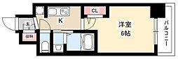 エステムコート名古屋黒川シャルマン 14階1Kの間取り