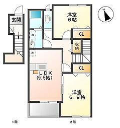 千葉県東金市家徳の賃貸アパートの間取り