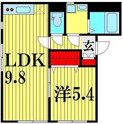 埼玉県越谷市大字上間久里の賃貸アパートの間取り