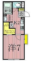 千葉県我孫子市天王台1丁目の賃貸アパートの間取り