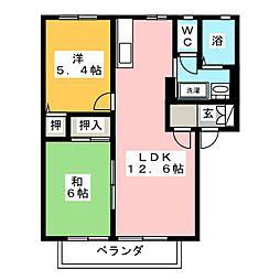 コーポ大富士E[1階]の間取り