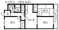 ローザ峰塚[402号室号室]の間取り