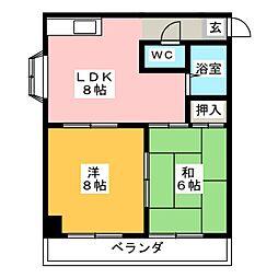 コーポ田園[4階]の間取り