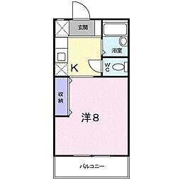 JR小野田線 雀田駅 徒歩4分の賃貸アパート 2階1Kの間取り