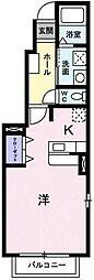 埼玉県越谷市レイクタウン1丁目の賃貸アパートの間取り