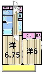 埼玉県八潮市八潮1丁目の賃貸アパートの間取り