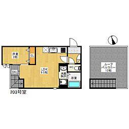 福岡市地下鉄空港線 姪浜駅 徒歩7分の賃貸アパート 2階1LDKの間取り