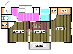 北川コーポ[202号室]の間取り
