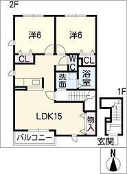 愛知県小牧市外堀3丁目の賃貸アパートの間取り