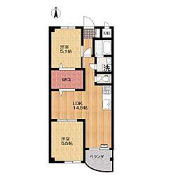 ニューバリヤハイツ2階Fの間取り画像