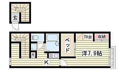 山陽電鉄本線 西二見駅 5.6kmの賃貸アパート 2階1Kの間取り