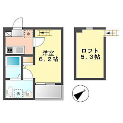 パビユウネッツ ビワジマ(pavillon honnete biwajima)[1階]の間取り