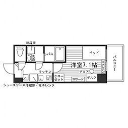 学生会館 ディークレスト秋田駅前[食事付き] 3階1Kの間取り