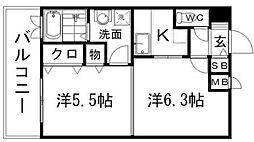 福岡県福岡市博多区中呉服町の賃貸マンションの間取り