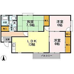セジュール ストークII[2階]の間取り