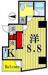 都営新宿線 菊川駅 徒歩9分の賃貸マンション 3階1Kの間取り