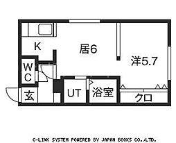 澄川レジデンス 3階1DKの間取り