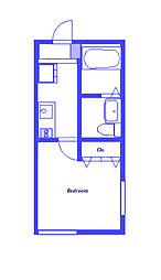 東急東横線 白楽駅 徒歩10分の賃貸アパート 1階1Kの間取り