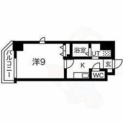 名古屋市営鶴舞線 鶴舞駅 徒歩9分の賃貸マンション 2階1Kの間取り