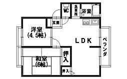 京都府向日市物集女町中条の賃貸アパートの間取り