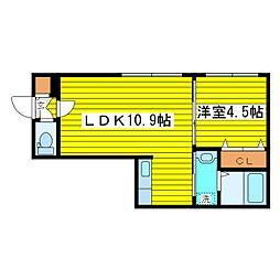 札幌市営東豊線 元町駅 徒歩4分の賃貸マンション 4階1LDKの間取り