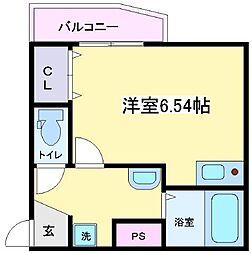 JR阪和線 杉本町駅 徒歩2分の賃貸アパート 2階ワンルームの間取り