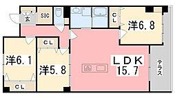 兵庫県姫路市西夢前台1丁目の賃貸アパートの間取り