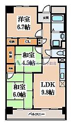 サニーヒル忍ケ丘 6階3LDKの間取り