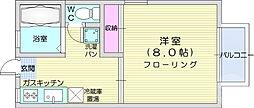 仙台市地下鉄東西線 川内駅 徒歩10分の賃貸アパート 2階1Kの間取り