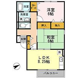 ディアコート B棟[2階]の間取り