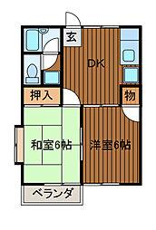 第2コーポオオヌキ[2階]の間取り