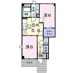 グレイスコート新屋A[1階]の間取り