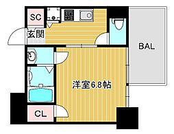 エスリード大阪上本町レジェーロ 8階1Kの間取り