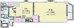 Osaka Metro四つ橋線 肥後橋駅 徒歩4分の賃貸マンション 9階1DKの間取り
