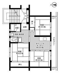 ビレッジハウス成田1号棟 2階3DKの間取り