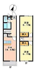 兵庫県姫路市大津区真砂町の賃貸アパートの間取り