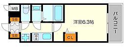 エステムコート新大阪XIIオルティ 8階1Kの間取り