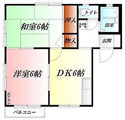 ハウスホワイトオーク  WiFi対応 2階2DKの間取り