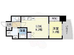 セレニテ福島シェルト 4階1LDKの間取り