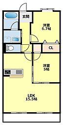 愛知県みよし市三好町原前の賃貸マンションの間取り