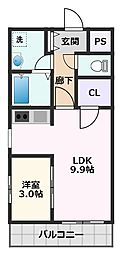 Prosper Kotobuki 5階1LDKの間取り