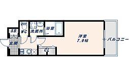 アドバンス大阪フェリシア 5階1Kの間取り