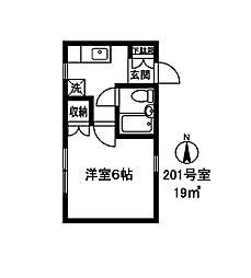 142601 メゾンコンホート[201号室]の間取り